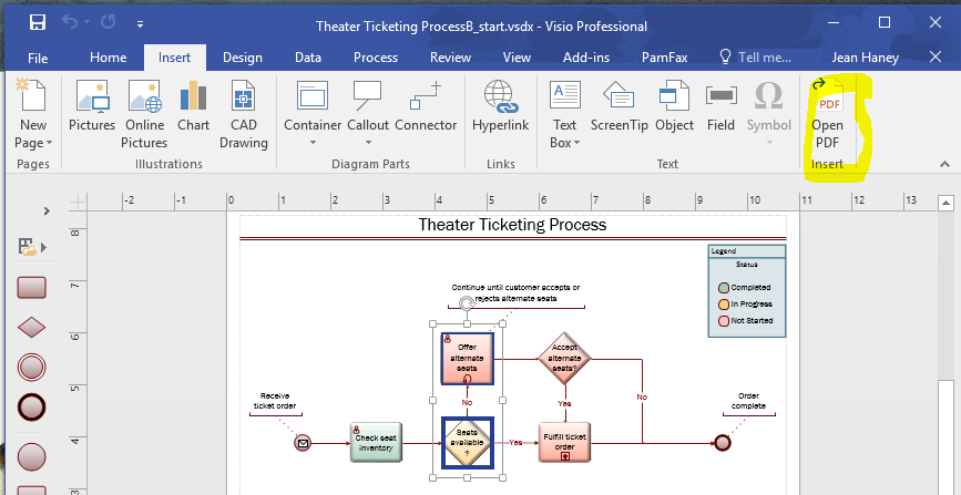 Insert PDF in Visio screenshot