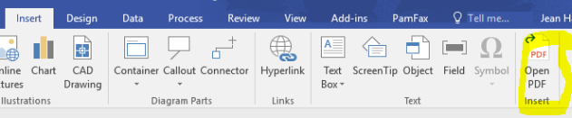 Insert PDF for Visio Screenshot
